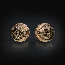 Gold Haida Wolf Studs / Earrings by Carmen Goertzen