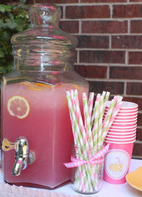 Pink lemonade for baby shower, blueberry pomegranate for blue