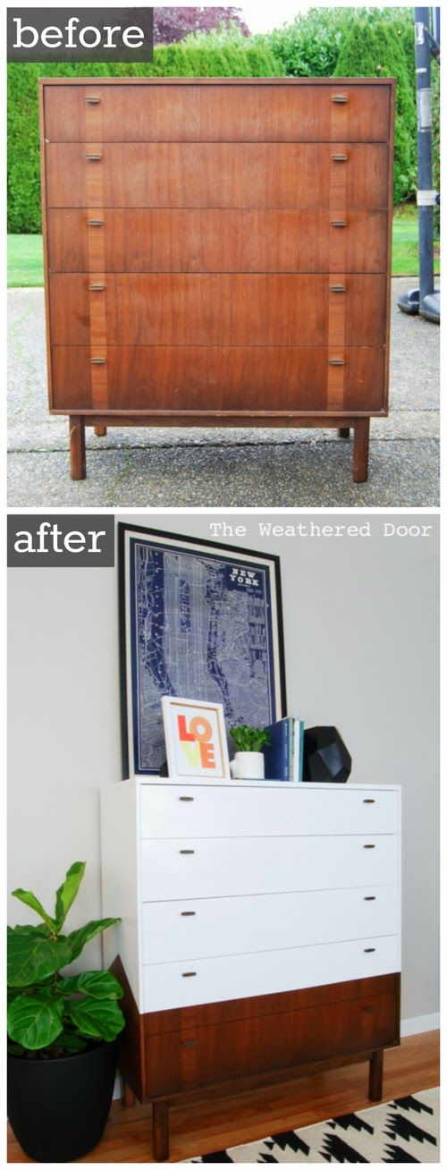 Reverse Dipped Mid Century Dresser with Angled Sides, with refinishing instructions