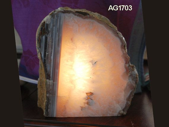 Agate Rock Lamp   Clear Quartz Crystal Lamp   Natural Night Light with Cord & Bulb   Geode Lamp   Gemstone Light   Table Lamp   Night Light