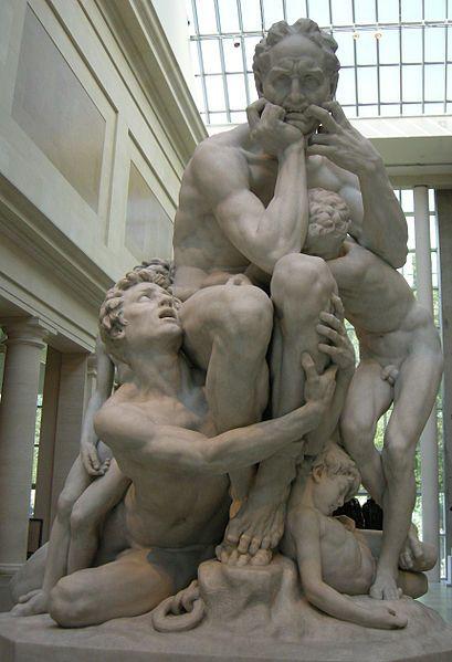 """Jean-Baptiste Carpeaux:""""Ugolino and his Sons."""" 1860. """"Quand un faible rayon se fut introduit dans la terrible prison,  Et que je vis sur quatre visages l'aspect que je devais avoir moi-même,  Je me mordis les deux mains de douleur,  Et ceux-ci pensant que je le faisais par envie de manger,  Se levèrent instantanément et dirent:  - Père, notre douleur sera beaucoup moins forte si tu nous manges;  Tu nous a revêtus de ces misérables chairs, reprends-les.""""  Dante, L'Enfer, Chant 33, v. 55-63."""