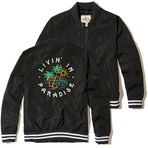 Hollister Embroidered Souvenir Bomber Jacket (255 ILS) ❤ liked on Polyvore featuring men's fashion, men's clothing, men's outerwear, men's jackets, black, mens bomber jacket, mens lightweight bomber jacket, mens light weight jackets, men's embroidered bomber jacket and mens lightweight jacket