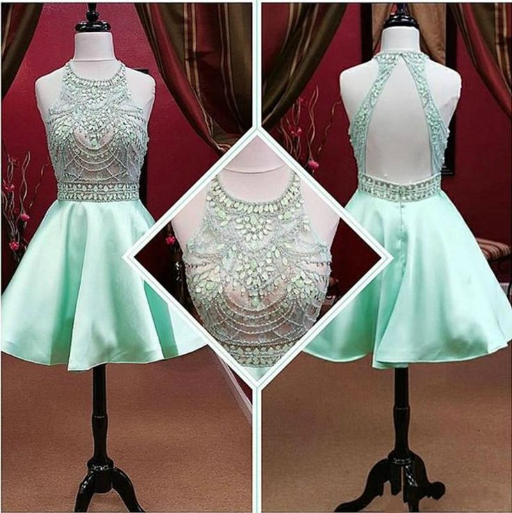 Under 100 Mint Prom Dresses With Crystal Beads Jewel Neck Open Back Modest Homecoming Party Dress Gowns
