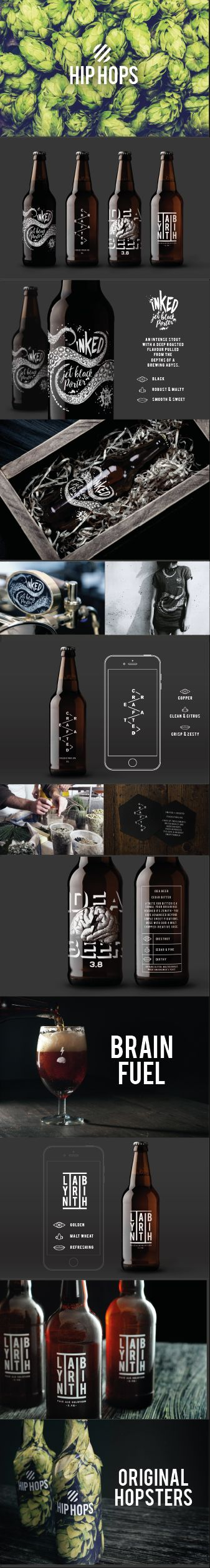 Hip Hops Craft Beer #Branding read the full story at eatwithouyeyes.co.uk #craftbeer #innovative #hiphops #packaging