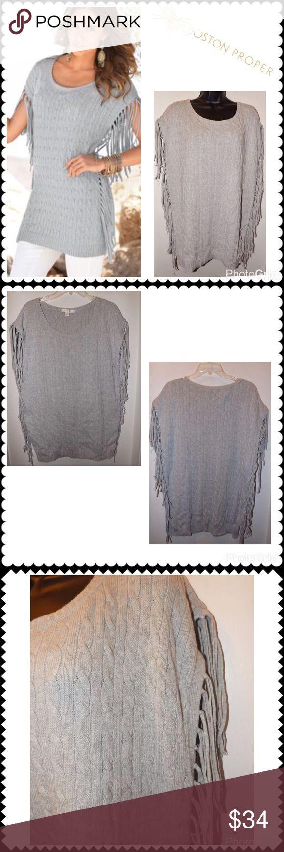 "BOSTON PROPER Cable Fringe Tunic Sweater Sz Medium Gray Cableknit Sweater by BOSTON PROPER. Sleeveless. Fringe down both sides. Cotton Blend. Cute! Sz Medium (22.5"" across chest, 29"" Shoulder to hem) Boston Proper Sweaters"