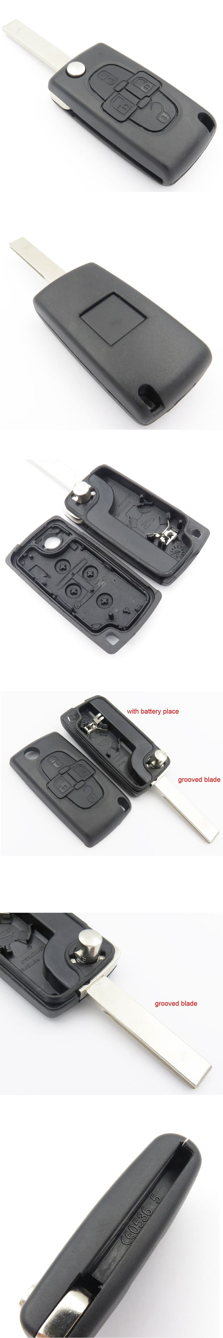 1pcs Replacement 4 button flip key fob case for Peugeot 1007 807 remote new case for Peugeot Key Case Cover Cocolockey