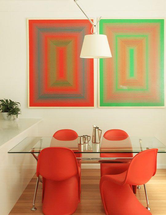 Op Art & Orange Panton Chairs in the Dining Room