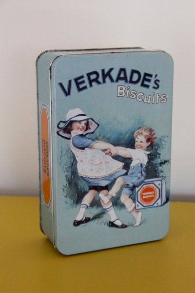 Vintage Dutch Verkade biscuits tin with dancing kids