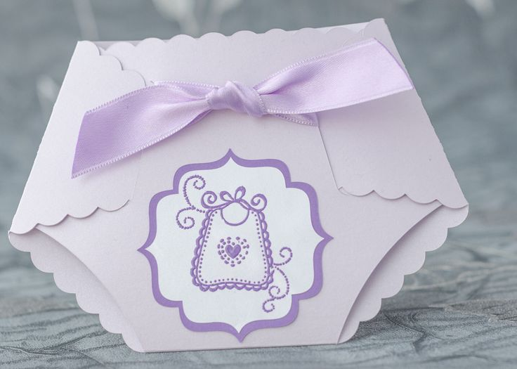 Lilac Baby Shower Diaper Invitation, Girl Diaper Invitation