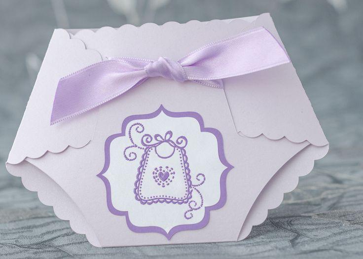 Lilac Baby Shower Diaper Invitation Girl Diaper Invitation