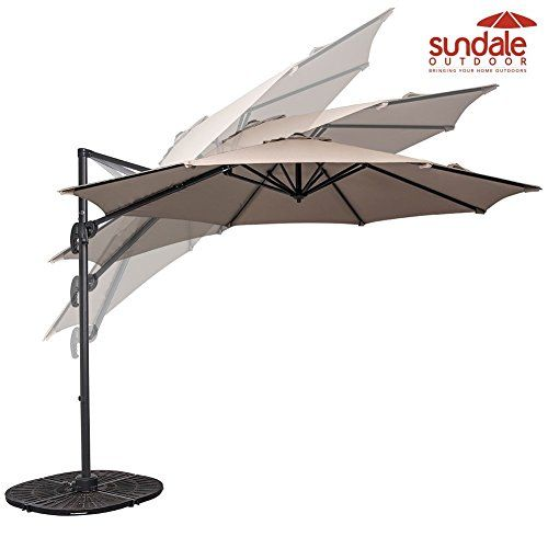 Sundale Outdoor 10ft Hanging Roma Offset Umbrella Outdoor Patio Sun Shade Cantilever Crank Canopy Taupe -- Find out more about the great product at the image link.