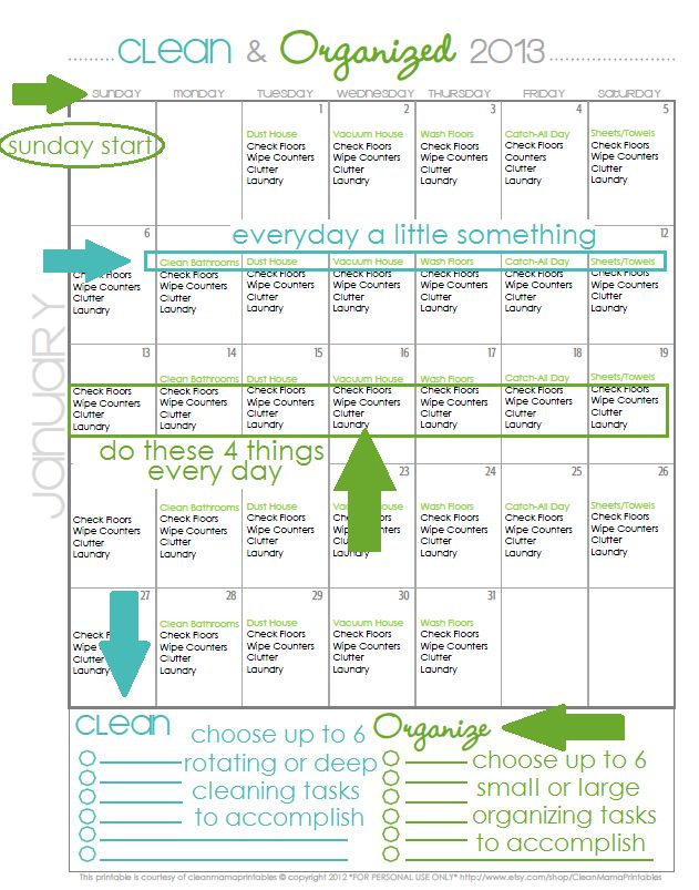 Ready for a Clean and Organized 2013?  How about a FREE January Cleaning Calendar to start the new year off right?