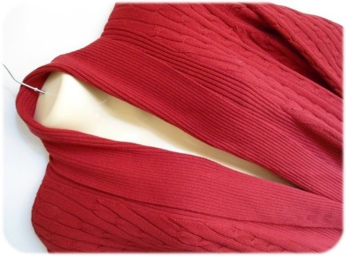 Womens long red sweater coat wrap cable knit sweater size 14 16w