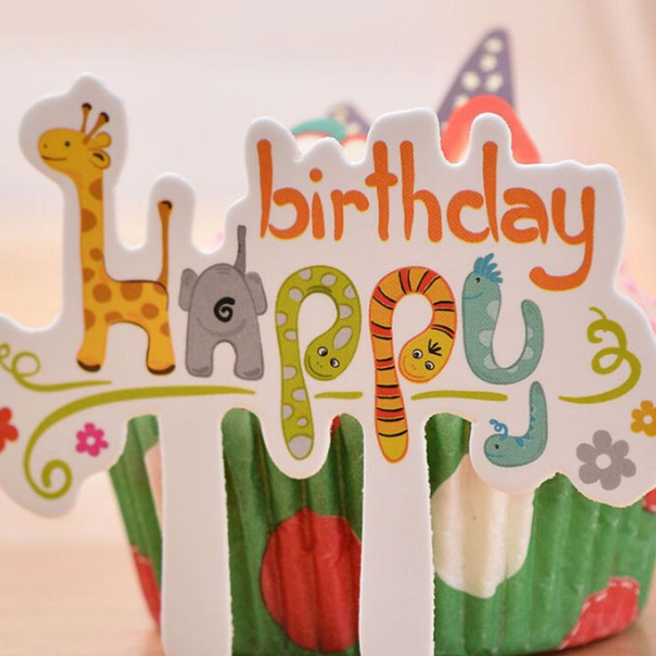 Happy Birthday Cupcake Toppers //Price: $10.95 & FREE Shipping //     #cakedecorating