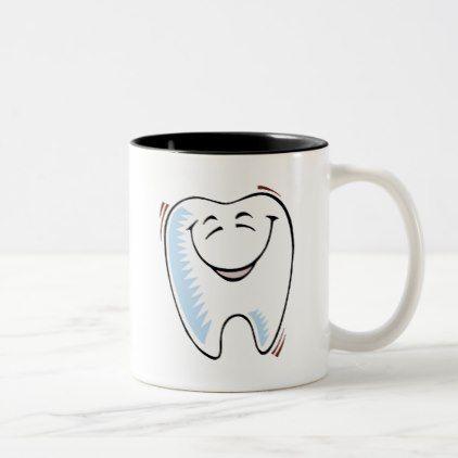Tooth Smile Smiling  Dental Dentist Hygienist Two-Tone Coffee Mug - office decor custom cyo diy creative