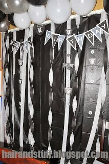 to all pinners i made a d.i.y raider party, enjoy and go to my blog hairandstuff.blogspot.com to see more pictures. Oakland raider decorations, ideas