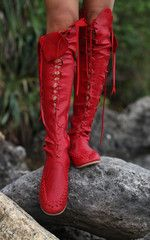 Red Knee High Leather Boots for  Women $272.39