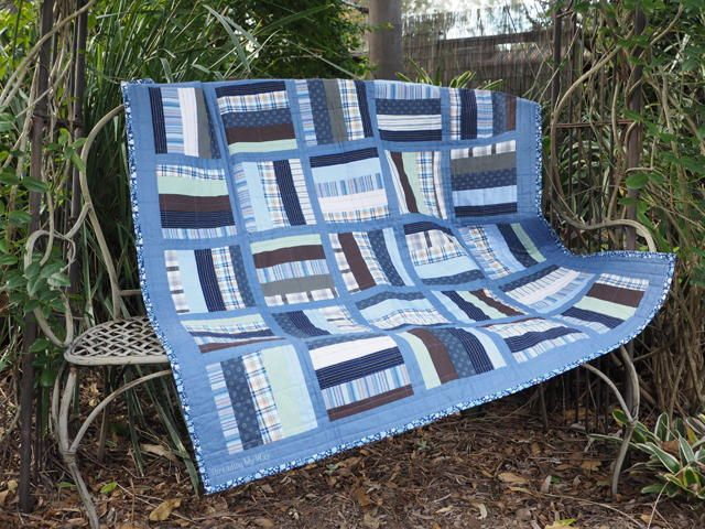 """""""Repurpose men's cotton shirts and turn them into a lap quilt. A low cost way to make a quilt. Would be a great way to make a memory quilt."""""""