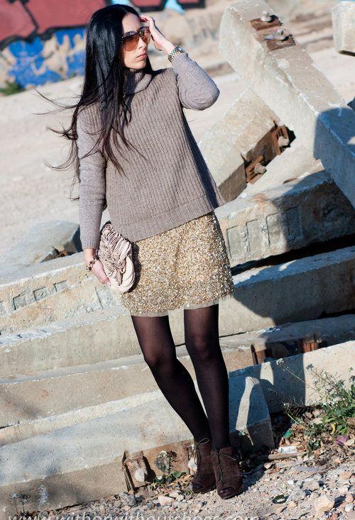 FALDA DE LENTEJUELAS + LANA , Zara in Skirts, Michael Kors in Watches, Zara in Clutches, Massimo Dutti in Ankle Boots / Booties, Zara in Sweaters
