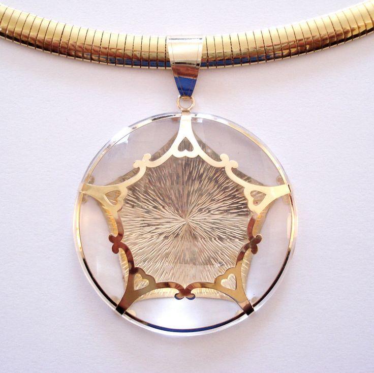 "14K Diamond Cut Yellow Gold Clear Quartz Graduated Omega Necklace 18"" QVC #QVC #Pendant"