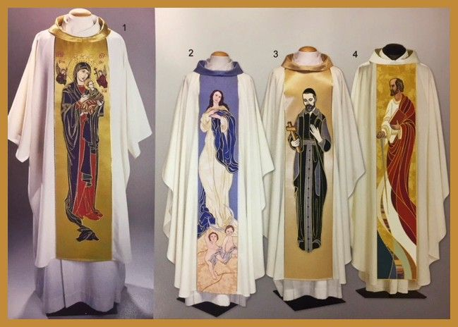 Saint Tapestry Chasubles: 1. Our Lady of Perpetual Help.  2.Immaculate Conception of Mary 3. St Vincent De Paul 4. St Paul