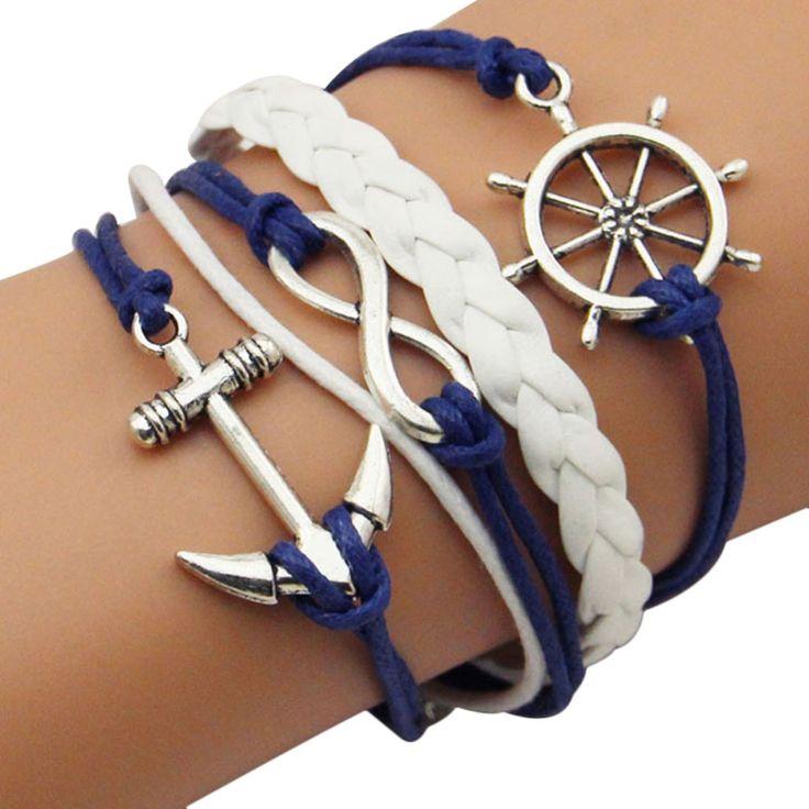 Infinity Rudder Anchor Leather Bracelet