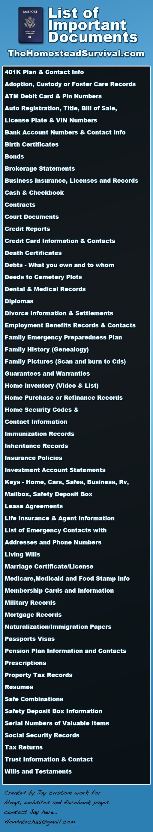 List Of Important Documents ~ Creating an Emergency Preparedness Folder keeps all your important documents in one place in case of a disaster.