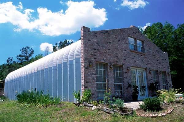 quonset hut with brick facadeMetal Homes, Bricks Facades, Indoor Play, Metals Buildings, Pole Barns, Metals Barns, Buildings Storage, Barns House, Buildings W House