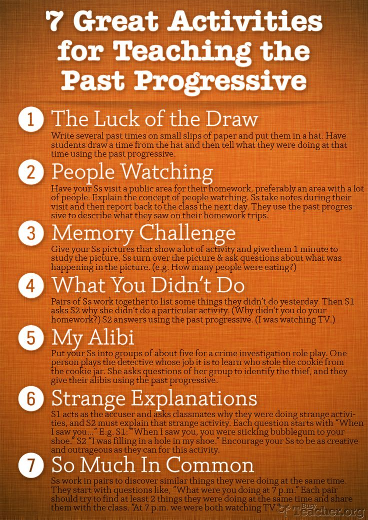 POSTER: 7 Great Activities to Teach the Past Progressive