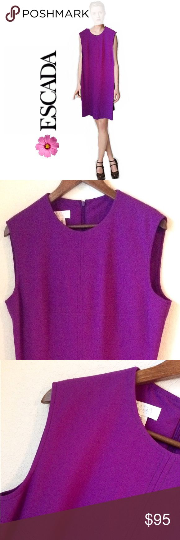 "ESCADA Dress Vintage dark berry colored midi sleeveless dress by ESCADA Margaretha Ley size 10. Half zip back, lined. 39"" L from collar, 18 1/2"" across chest. In excellent condition. No stains, holes or signs of wear. Escada Dresses Midi"