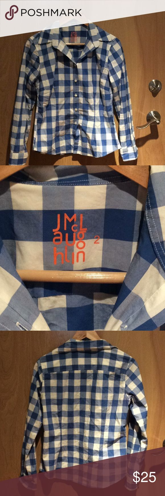 J McLaughlin Button Down Shirt Sz 2 J McLaughlin Button Down Checkered shirt. 100% cotton. J McLaughlin Tops Button Down Shirts
