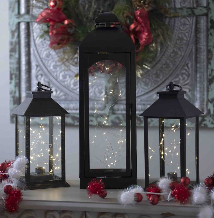 Bring the stars into your home with beautiful lanterns. Light up your Christmas decor with a Sparkling' Lights Pre-Lit Black Tabletop Lantern, trendy and modern it's the perfect addition to your already dazzling christmas decor.