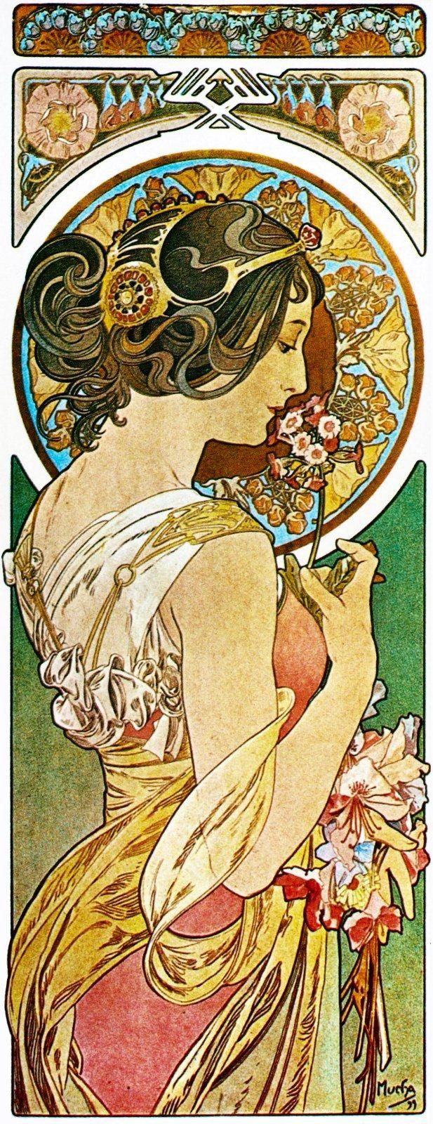 """"""" La Primevère"""" by Alfons Maria Mucha (1860-1939) was a Czech Art Nouveau painter and decorative artist known best for his distinct style.……reépinglé par Maurie Daboux….ღ. ¸.•*¨"""