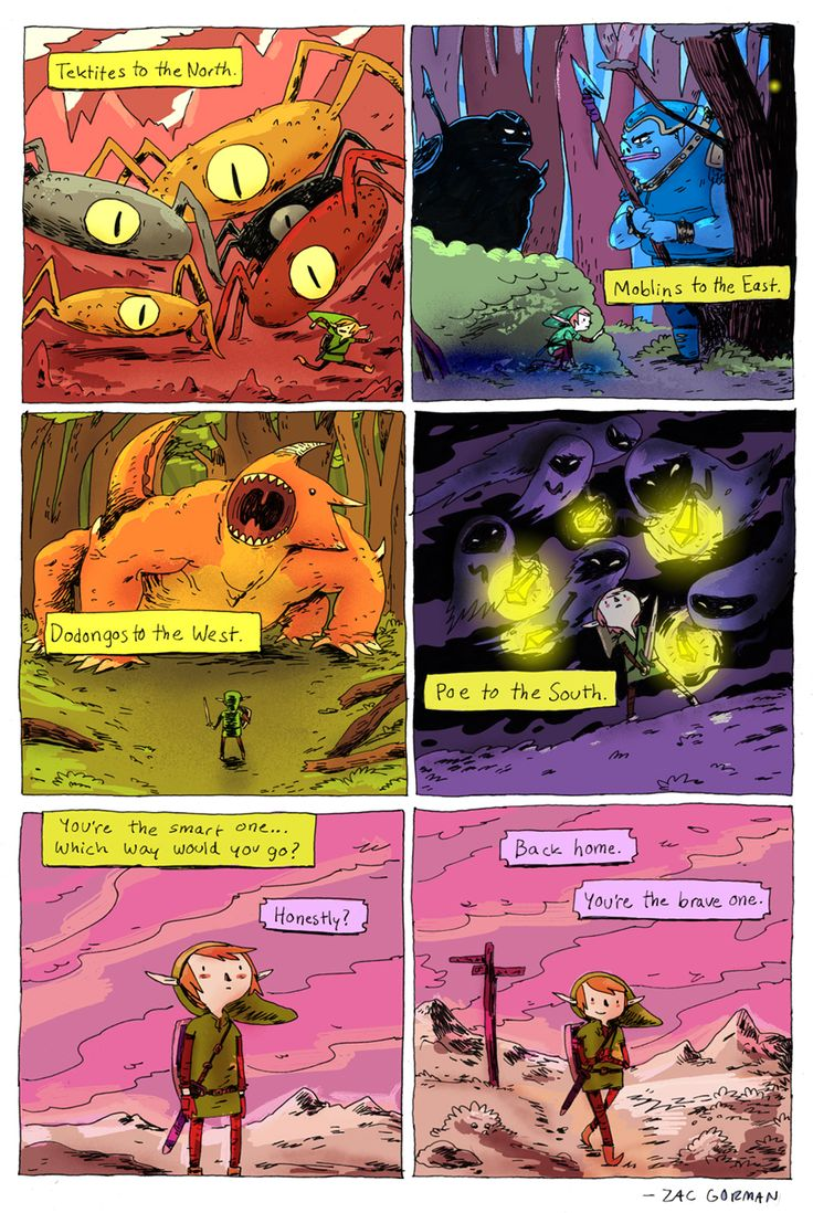 Zelda comic done by Zac Gorman.  Great art style and colors. AW! <3 Naaahh...you're the brave one, Link!