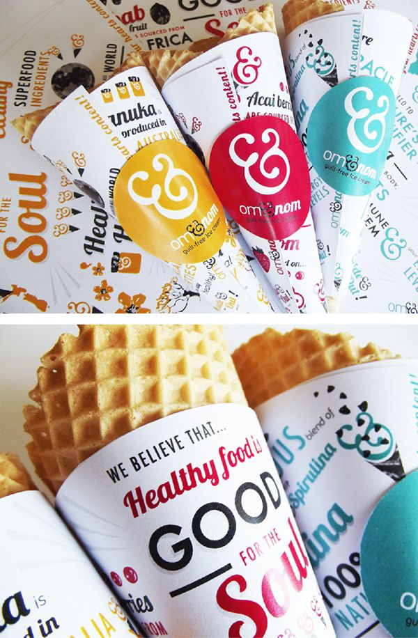 Om&nom guilty free Ice Cream brand on Behance #packaging #package #cleaneating