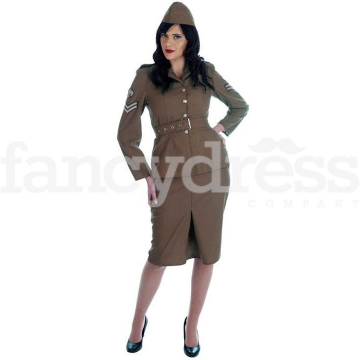 Ladies WW2 1940s Army Girl Uniform Fancy Dress Costume Military Wartime