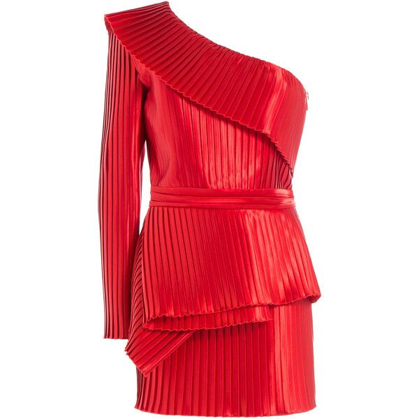 Balmain One-Shoulder Pleated Cocktail Dress ($4,000) ❤ liked on Polyvore featuring dresses, balmain, red, red mini dress, short dresses, red one shoulder dress, long-sleeve mini dress and short red dress