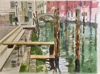 """Venice: Campo SS Giovanni e Paolo watercolour, 11 x 14"""", 27.5 x 35 cm by Peter Harrison"""