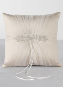 "Wrapped in delicate ivory tulle gathered over rich champagne satin, this ring bearer pillow is an elegant yet classic design. An elaborate rhinestone and beaded applique is the perfect embellishment for this radiant vintage style pillow. Features and Facts: Size: 8"" square Made of satin and tulle with rhinestone and silver bead embellishment"