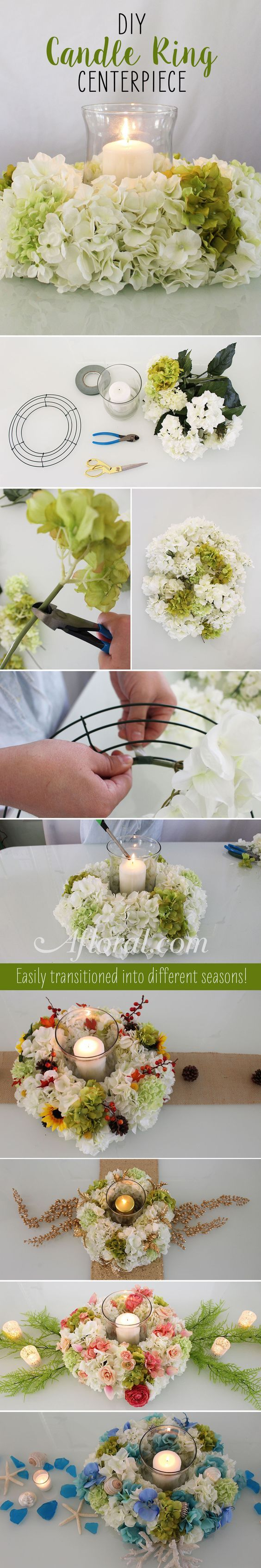 DIY Hydrangea Candle Ring Centerpiece