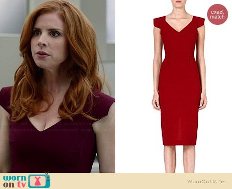 Donna's burgundy v-neck cap sleeve dress on Suits.  Outfit Details: http://wornontv.net/35026/ #Suits