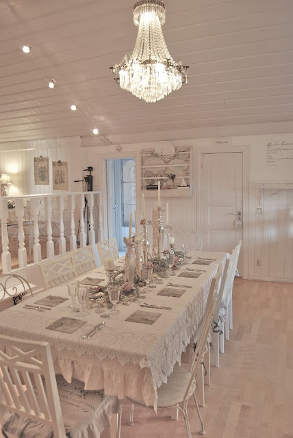 All white dining room with white washed floors shabby for All white dining room