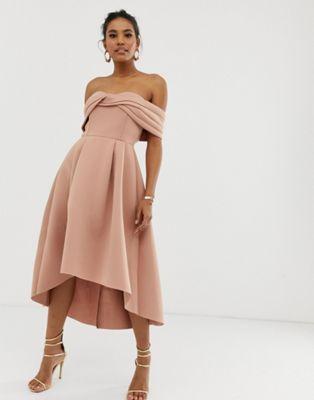 74b6feb7dd5b DESIGN off shoulder bardot midi prom dress in 2019   Engagement ...