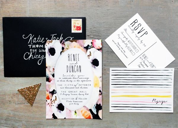 Oh So Beautiful Paper: Renee + Duncan's Bold Floral Watercolor Wedding Invitations