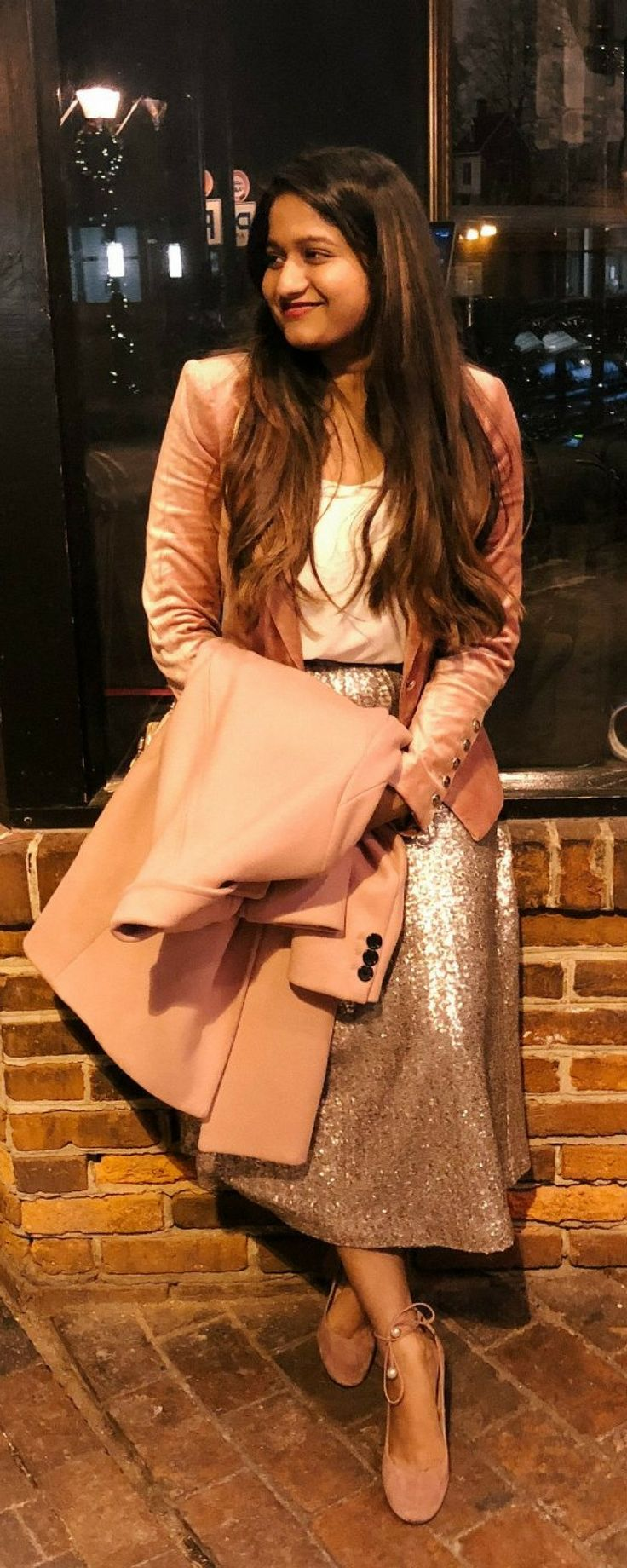 2018 Goals | dreamingloud.com -------------------------------------------- NYE outfit, sequin midi skirt, velvet pink blazer, cream silk blouse, kate spade gena heels in vintage rose, night party outfits, lady like outfit, chic party outfit ideas, boden sequin skirt, elegant and neat dressing, skirt with blazer