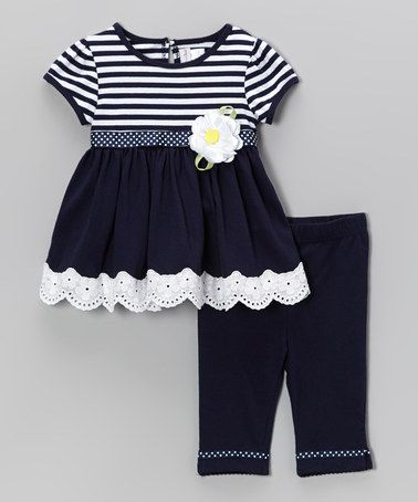 Take a look at this Navy Stripe Eyelet Tunic & Leggings - Infant, Toddler & Girls by Sweet Heart Rose on #zulily today!