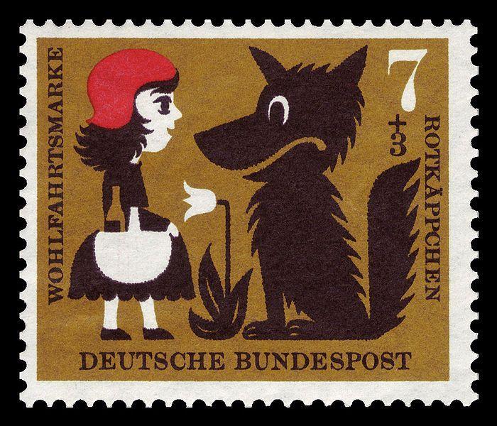 Little Red Ridding Hood, postage stamps from the Bundesrepublik Deutschland.(1960)