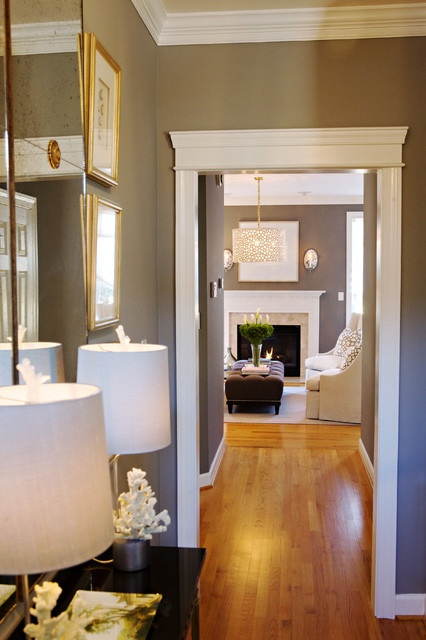 """""""Anew Gray"""" - Benjamin Moore... i have white trim like this and my floors are exactly this color... ooh."""