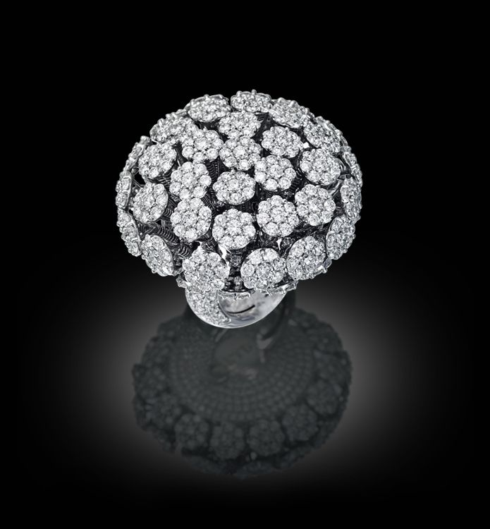 Palmiero Jewellery Design ~ Tremblant ring set with cluster of flower heads pavé diamonds with precious stones