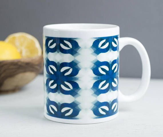 Pretty blue flower mug bold print mug geometric by DoodlePippin